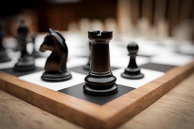 Schaakbord kampioenschapskamer. 3d-weergave. 3d-afbeelding