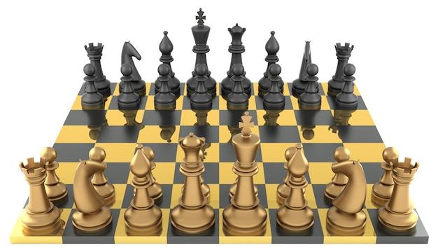 Schaakbord met metalen schaakstukken...