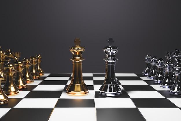 Schaakbordspel voor ideeën en competitie en strategie