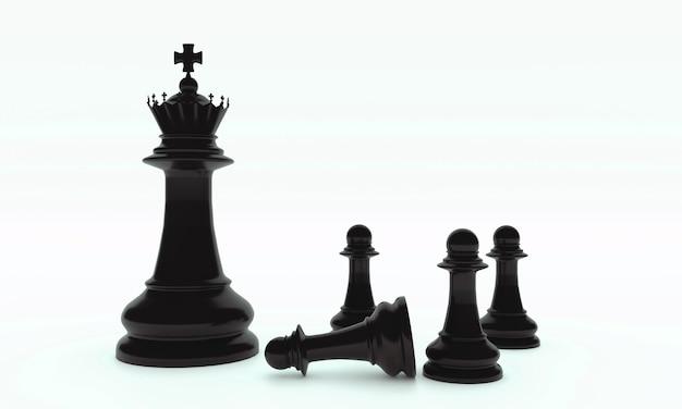 Schaakbordspelstukken in het zwart