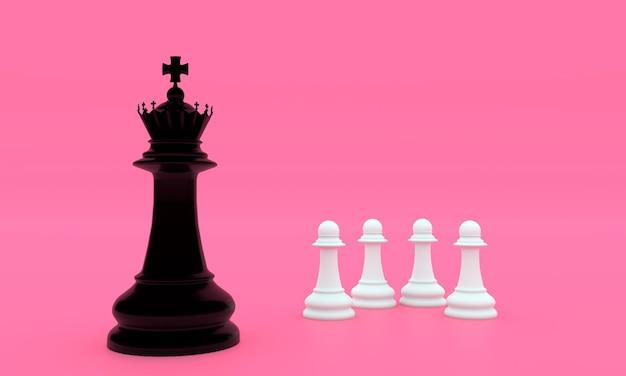 Schaakbordspelstukken in zwart en wit
