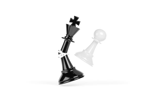 Schaakpion die een koning in stukken slaat. succesconcept winnen