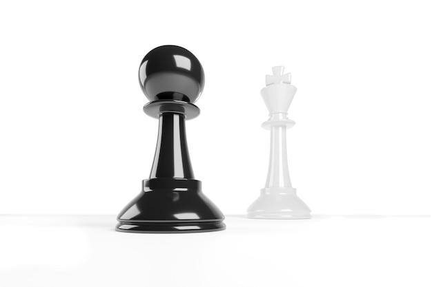 Schaakpion lijkt groter dan de koning. moed begrip.