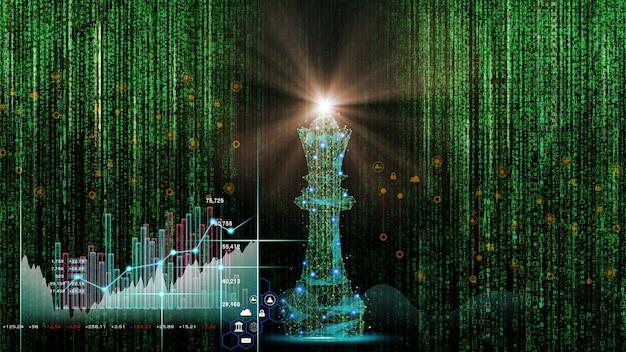 Schaakspel achter forex grafiekachtergrond bedrijfsconcept om financiële informatie te presenteren