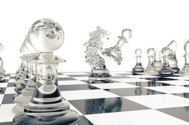 Schaakspellen, overwinning, succes in competitie, leiderschap in het bedrijfsleven, transparante pionnen