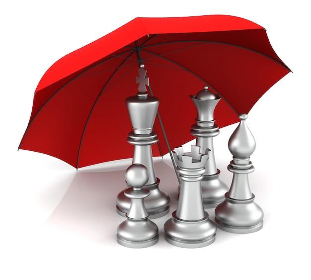 Schaakstuk met rode paraplu. 3d-rendering