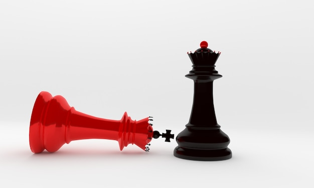 Schaakstukken bisschop en koningin in zwart en rood