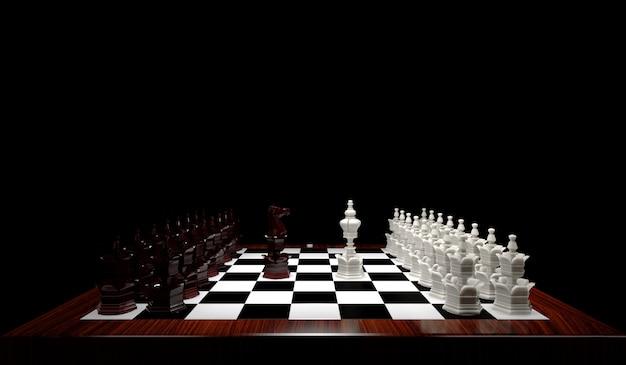 Schaakstukken ridder en koningin van aangezicht tot aangezicht op schaakbord.