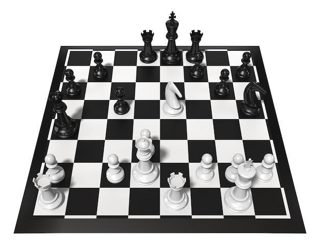 Schaaktafel met figuren. geïsoleerd op wit. driedimensionale weergave.