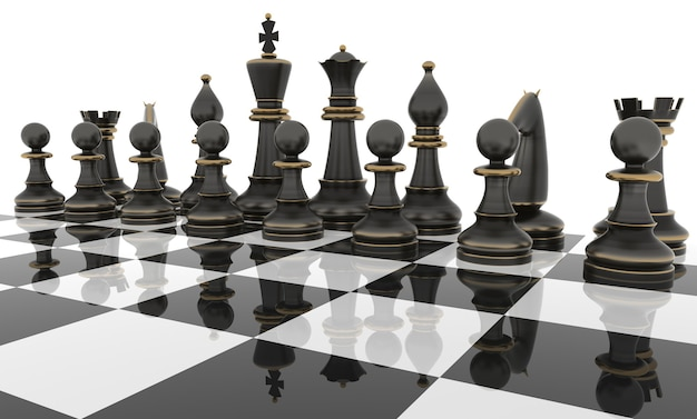 Schaaktafel met metalen schaakfiguren. geïsoleerd op wit. driedimensionale weergave.