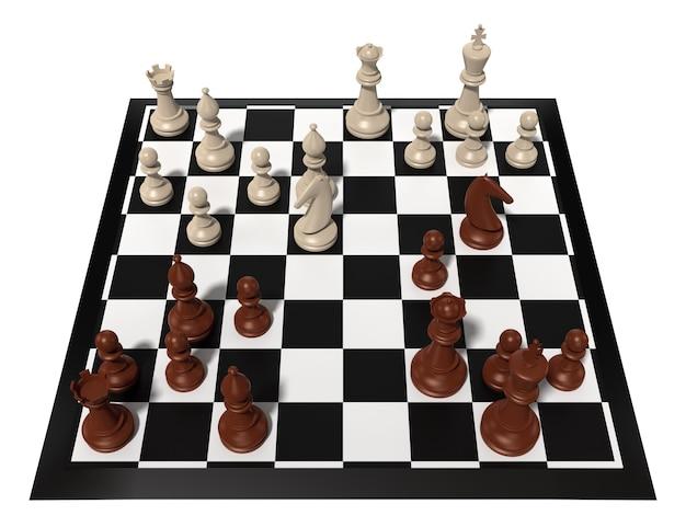 Schaaktafel met schaakfiguren. geïsoleerd op wit. driedimensionale weergave.