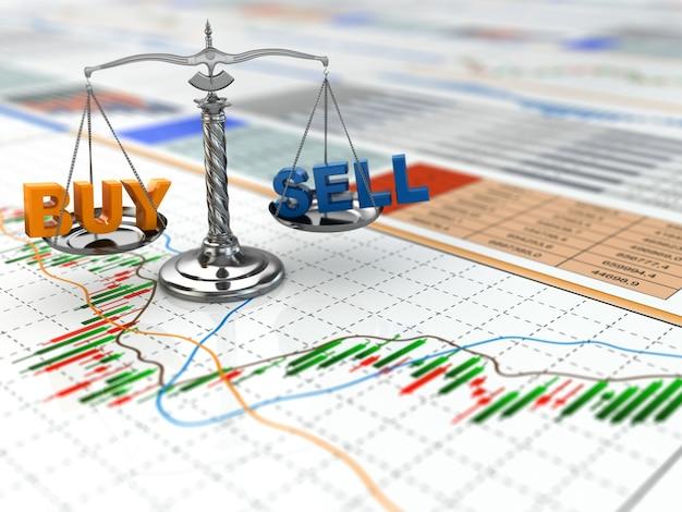 Schaal met woord kopen en verkopen op financiële grafiek 3d