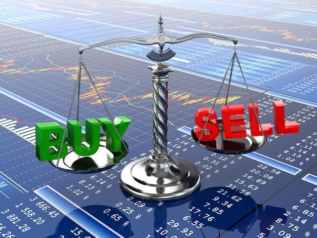 Schaal met woorden kopen en verkopen op financiële grafiek 3d