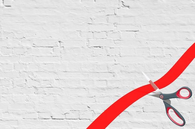 Schaar snijden rood lint met lege ruimte voor uw ontwerp voor bakstenen muur achtergrond. 3d-rendering