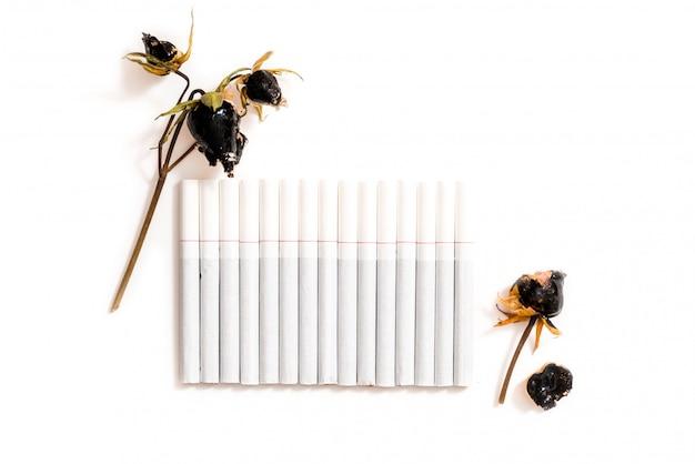 Schade aan roken, witte sigaretten op wit