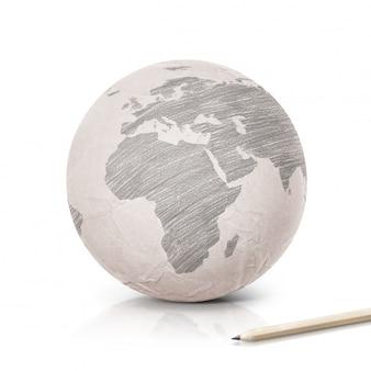 Schaduw europa kaart op papier wereldbol op wit geïsoleerd