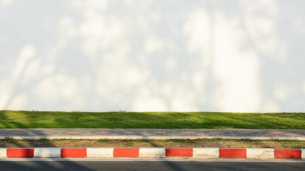 Schaduw van boomtak op witte cementmuur met groen gras