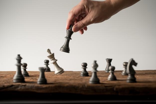 Schaken bedrijfsconcept, leider teamwerk & succes