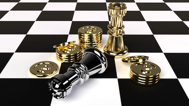 Schaken en gouden munten 3d-rendering voor zakelijke inhoud.