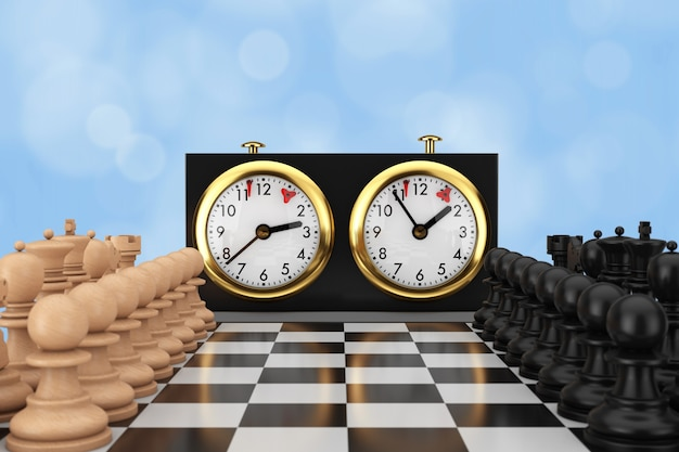 Schaken met schaakbord en schaakklok op een blauwe achtergrond. 3d-rendering
