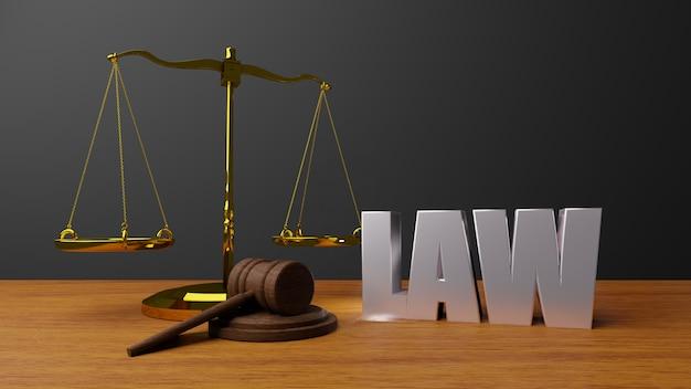 Schalen van justitie wet schalen en hamer wet houten rechter hamer hamer en basis 3d render met bericht wet