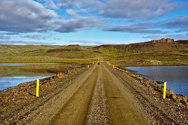 Schapen die over een rustieke landweg in ijsland lopen