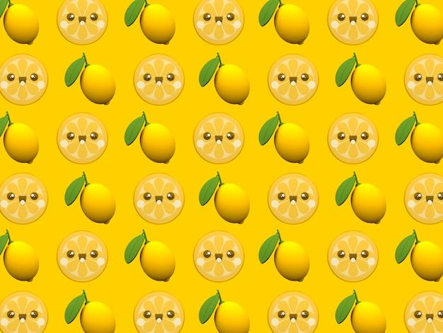 Schattig citroen kawaii 3d cartoon karakter patroon behang op gele achtergrond