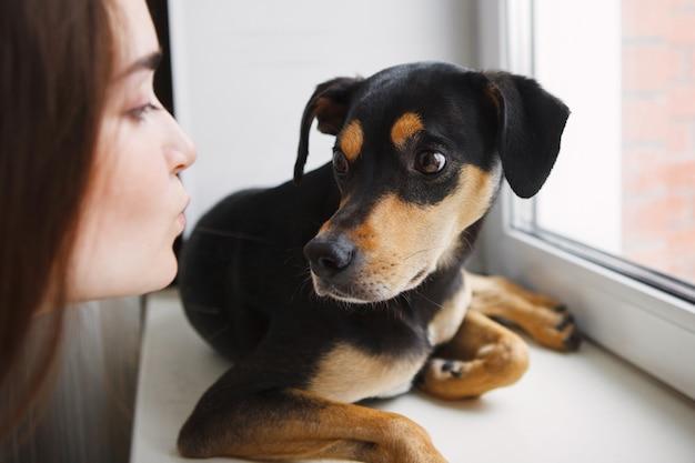 Schattig jong meisje en ingeteelde hond zit en kijkt uit het raam. het concept van de bescherming van dakloze dieren.