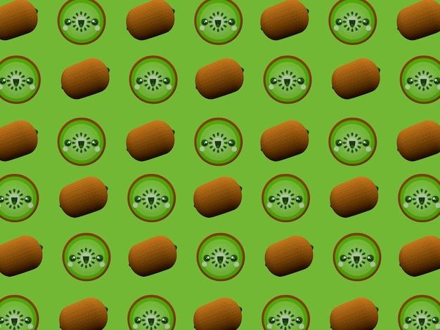 Schattig kiwi kawaii 3d cartoon karakter patroon behang op groene achtergrond
