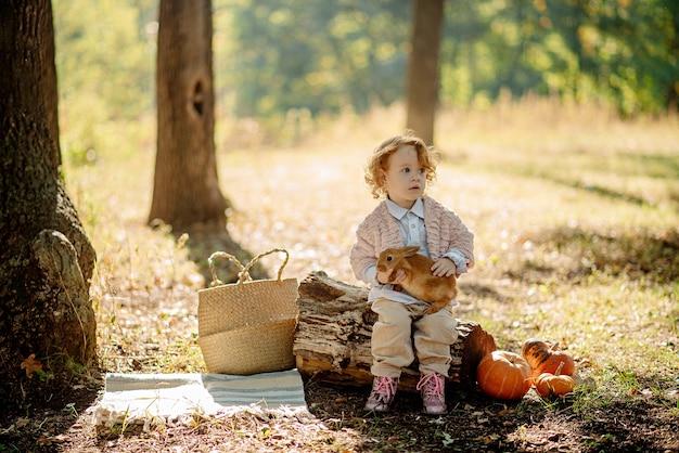 Schattig klein meisje 3 jaar oud spelen met een konijn in de herfst bos