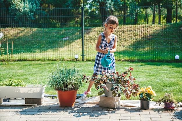 Schattig klein meisje in een blauwe geruite jurk die de planten water geeft uit een gieter in de tuin. outdoor activiteit kinderen.