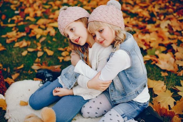 Schattig klein meisje in een herfst park