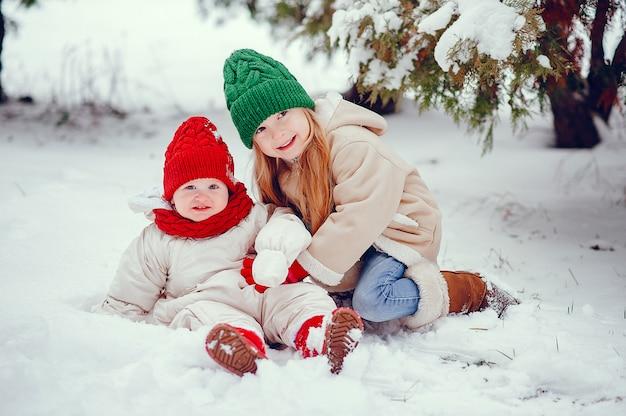 Schattig klein meisje in winter park