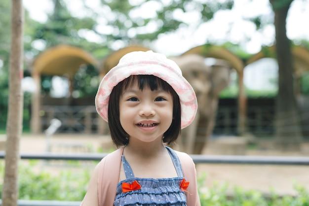 Schattig klein meisje kijken naar dieren in de dierentuin op warme en zonnige zomerdag. kinderen kijken naar dierentuindieren door het raam. familie tijd in dierentuin.
