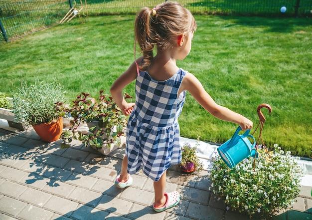 Schattig klein meisje van 3-4 jaar oud in een blauwe geruite jurk die de planten water geeft uit een gieter in de tuin. outdoor activiteit kinderen.