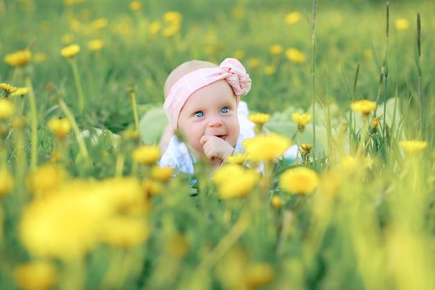 Schattig klein meisje waait op paardebloemen op weide. hoge kwaliteit foto