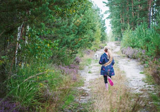 Schattig klein meisje wandelen in het bos