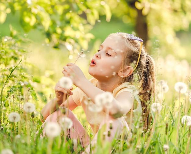 Schattig meisje speelt met paardebloemen