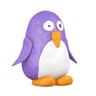 Schattig violet en wit speelgoed cartoon plasticine of clay penguin op een witte achtergrond. 3d-rendering