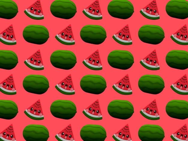 Schattig watermeon kawaii 3d cartoon karakter patroon behang op roze achtergrond