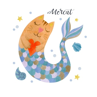 Schattige aquarel kat zeemeermin geïsoleerd op een witte achtergrond afbeelding