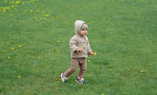 Schattige baby die op het gras loopt