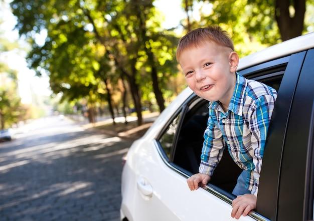 Schattige babyjongen in de auto