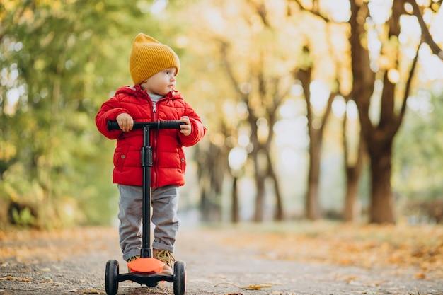 Schattige babyjongen op scooter in herfstpark