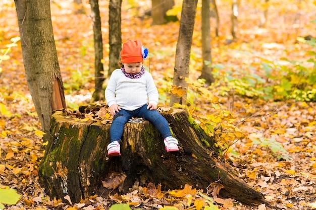 Schattige babymeisje in de herfst bos