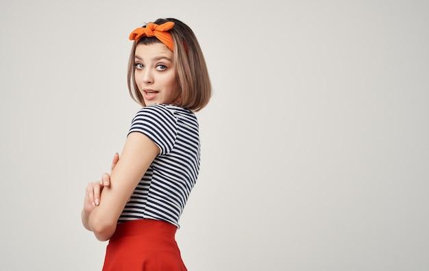 Schattige blonde oranje hoofdband mode moderne stijl