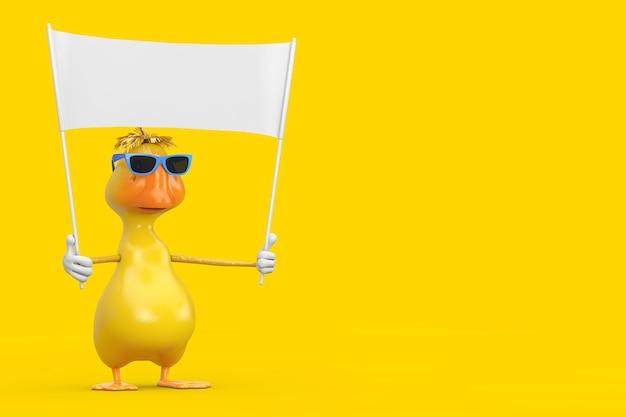 Schattige gele cartoon duck persoon karakter mascotte en lege witte lege banner met vrije ruimte voor uw ontwerp op een gele achtergrond. 3d-rendering