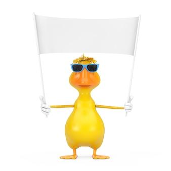 Schattige gele cartoon duck persoon karakter mascotte en lege witte lege banner met vrije ruimte voor uw ontwerp op een witte achtergrond. 3d-rendering