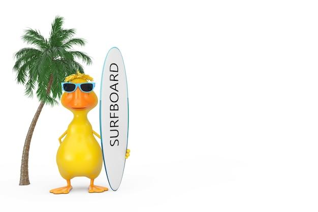 Schattige gele cartoon duck persoon karakter mascotte met surfplank in de buurt van groene palmboom op een witte achtergrond. 3d-rendering
