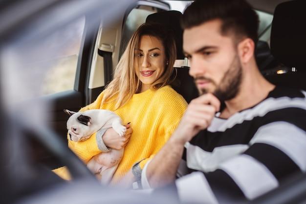 Schattige glimlachende moderne onderneemster die een kleine schattige hond houdt en een bestuurder in een auto bekijkt.